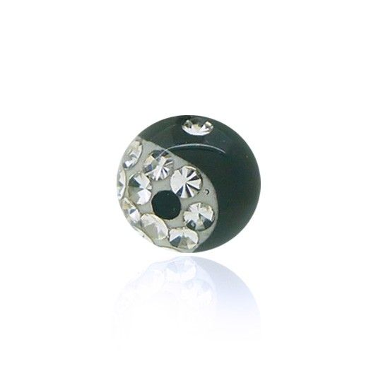 Piercing boule en cristal de swarovski avec motif yin yang à l'éclat incomparable. Plusieurs coloris au choix.