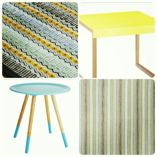 Working out the living room colour scheme for Project Moore Park... Lemon and turquoise?  Inspiration from @habitatuk