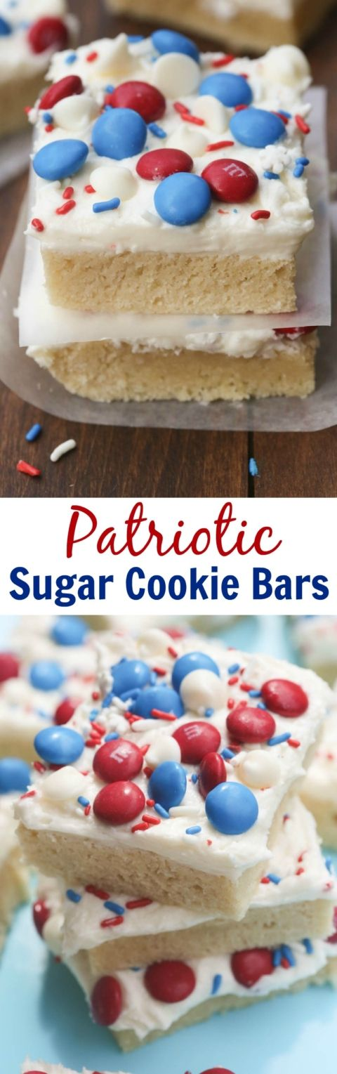 Patriotic Sugar Cookie Bars are my FAVORITE! Super soft and chewy sugar cookie bars with the best homemade frosting.   Tastes Better From Scratch