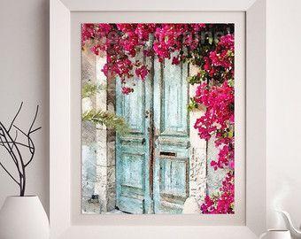 Cottage deur aquarel fine-art print, rustieke Franse home decor, shabby chique aqua en fuchsia roze kunst aan de muur, slaapkamer badkamer woonkamer