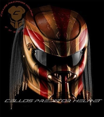 THE AWESOME PREDATOR HELMET MOTORCYCLE STYLE DOT APPROVED SIZE S-M-L-XL #CELLOS