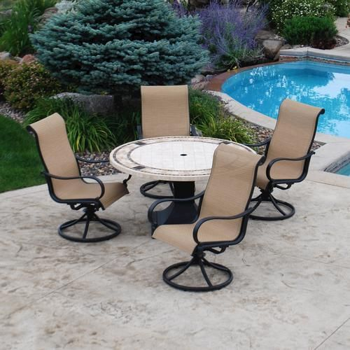 Backyard Creations 5 Piece Belvedere Dining Collection At
