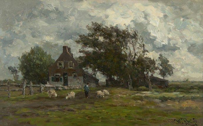 Willem ROELOFS (Dutch painter, 1822-1897): Landscape with flock and shepherd at farmhouse / Landschap met kudde en herder bij boerenhuis (undated)