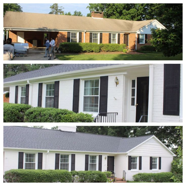 Curb appeal before and after. Paint brick house white. Adds interest to single level home.