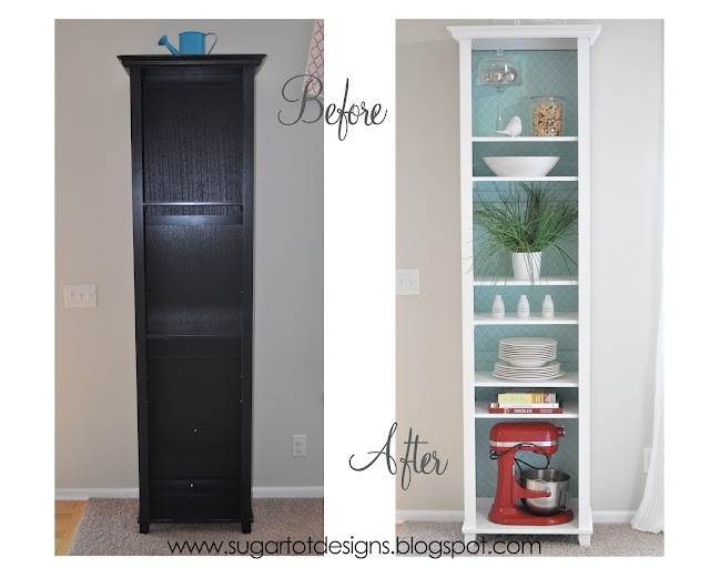 white Bookshelf Makeover with Removable Lining