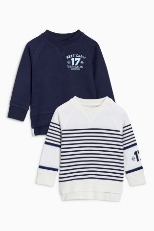Buy Navy/Ecru Stripe Crews Two Pack (3mths-6yrs) from the Next UK online shop