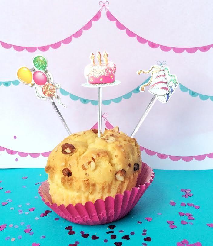 Toppers Happy Birthday de Lovely party para decorar cupcakes, pasteles o bocadillos