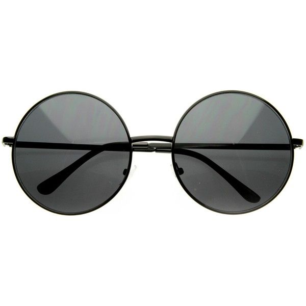 Oversize Vintage Inspired Metal Round Circle Sunglasses 8370 ($9.99) ❤ liked on Polyvore featuring accessories, eyewear, sunglasses, metal sunglasses, round metal glasses, round glasses, round frame glasses and rounded sunglasses