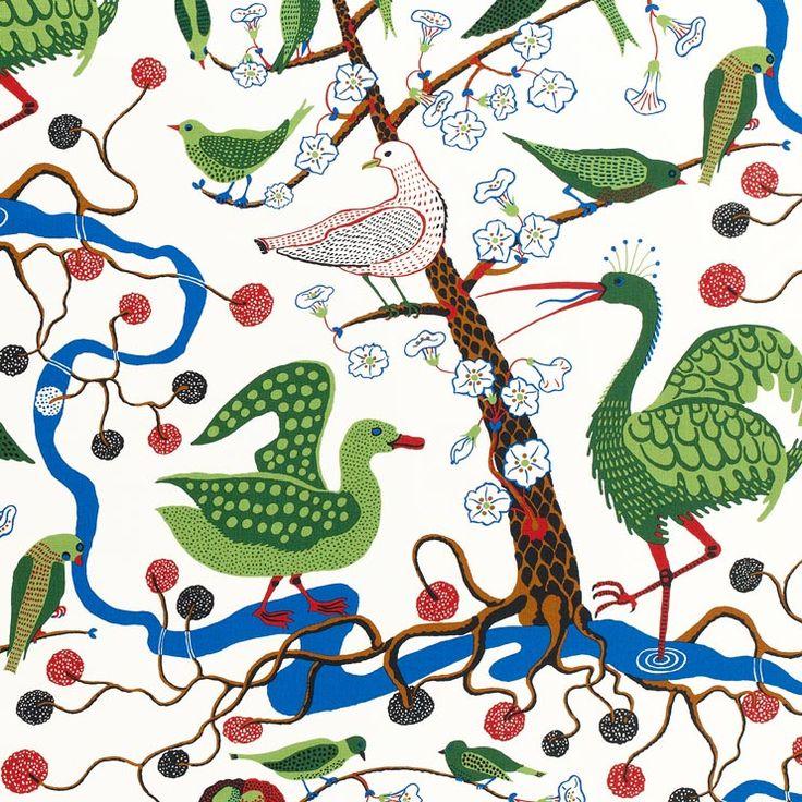 Textil Gröna Fåglar 315 Lin | Svenskt Tenn