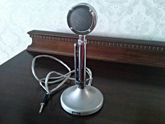 Vintage Astatic D-104 Lollipop Microphone, Crystal Ham Radio Amateur Radio UG8 Stand, Man Cave Decor, Vintage Electronics FREE U.S. SHIPPING