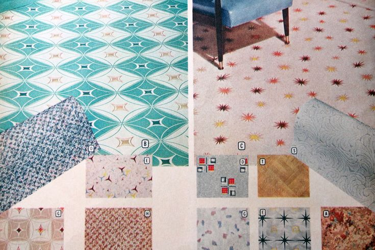 Love the patterns on all of these vinyl flooring options...I want starburst flooring!!