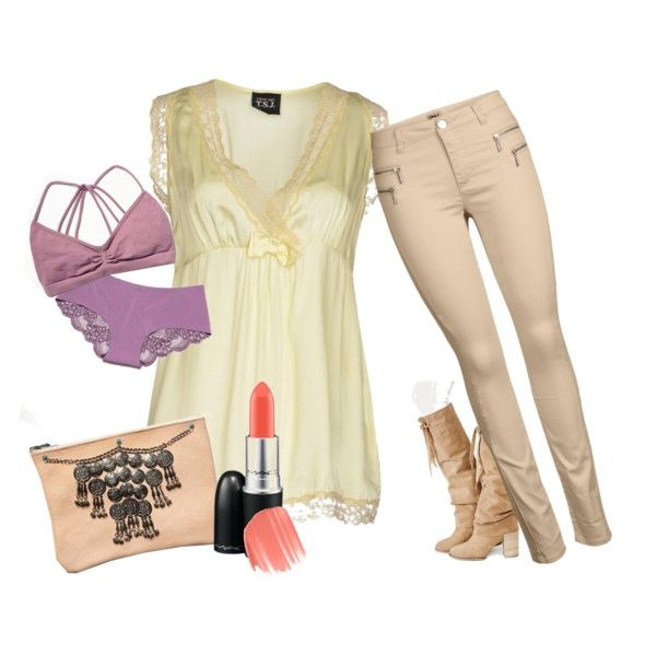 Nude Spring Outfit by the-aria-soto on Polyvore featuring ONLY, Free People, MAC Cosmetics and Paul & Joe Beaute