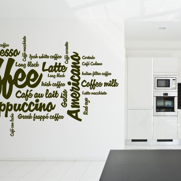 Vinilo decorativo de textos de café. Masquevinilo.com