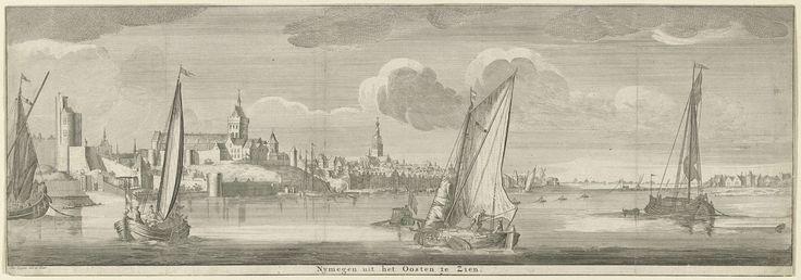 Jan Ruyter | Gezicht op Nijmegen vanuit het oosten, Jan Ruyter, 1726 - 1744 | Gezicht over de rivier de Waal op de stad Nijmegen, met het Valkhof en op de achtergrond de Sint-Stevenskerk. Op de voorgrond diverse zeilschepen.