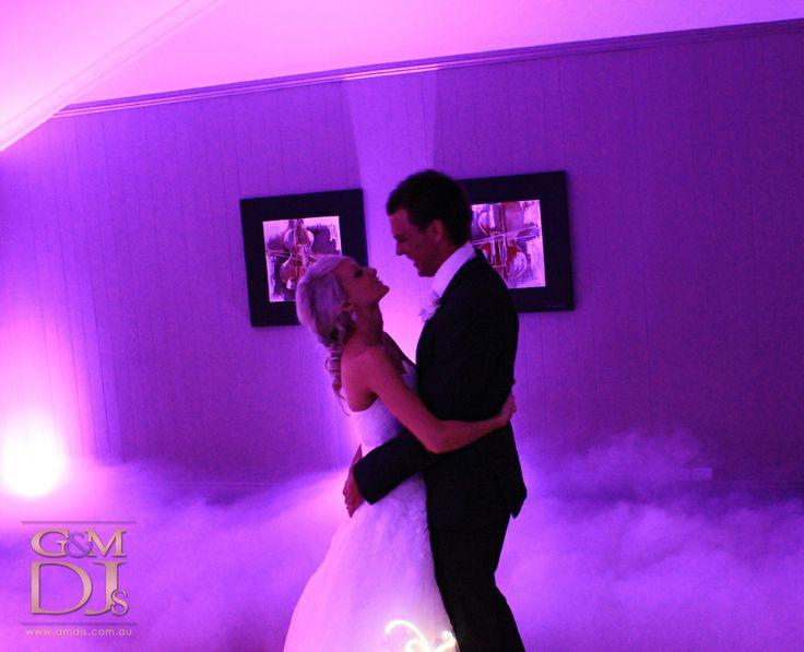 Dancing on a cloud bridal waltz with purple uplighting at Brisbane Golf Club | G&M DJs | Magnifique Weddings #gmdjs #magnifiqueweddings #weddinglighting @gmdjs #brisbanegolfclub