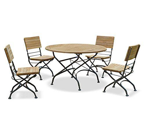 Café Teak Bistro Round Garden Table 0.8m and 2 Bistro Chairs Set - Jati  Brand