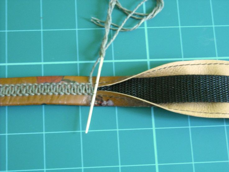Hand stitching, leather strap