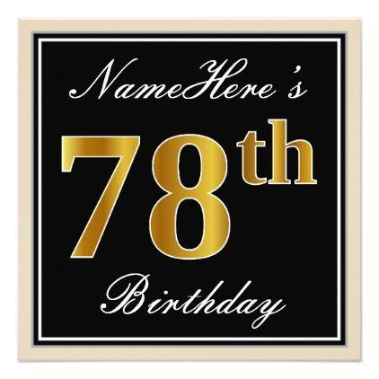 Elegant Black Faux Gold 78th Birthday Name Invitation