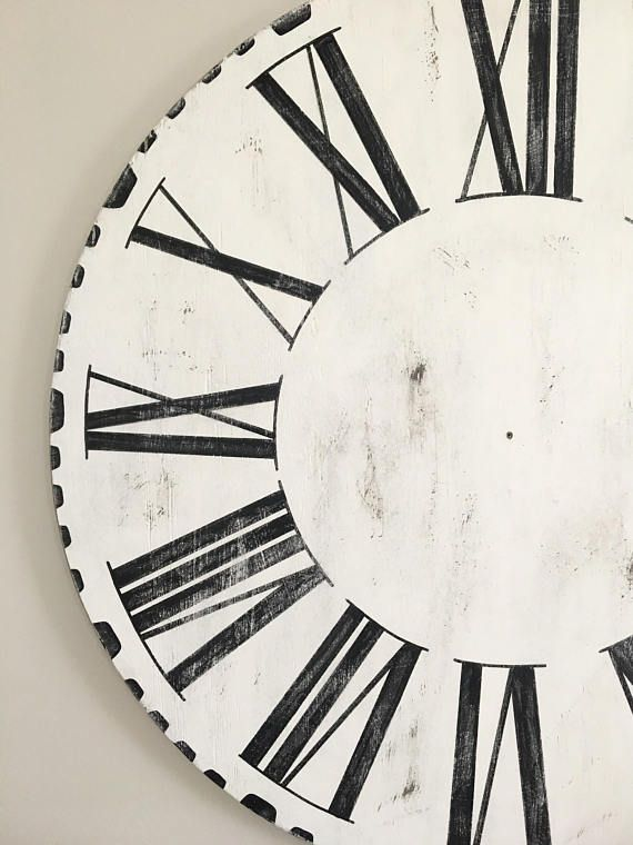 48 Oversized Joanna Gaines Farmhouse Style Wooden Clock Dial Only Black White Roman Nume Primitive Kitchen Farm House Living Room Farmhouse Style Clock