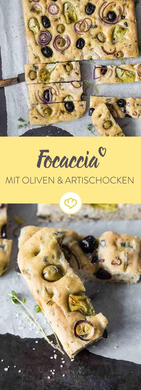 Eine unverschämt leckere und zudem auch wunderschöne Kalorienbombe mit den besten mediterranen Zutaten: Oliven, Olivenöl, Thymian und Artischocken.