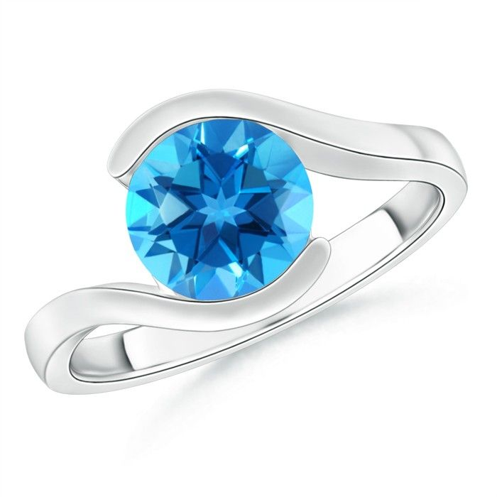 Angara Double Prong-Set Cushion Swiss Blue Topaz Cocktail Ring in White Gold 64pRTTbcLU