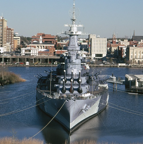 USS  North Carolina...She was the first newly constructed American battleship to enter service during World War II, and she took part in every major naval offensive in the Pacific Theater of Operations to become the most highly decorated American battleship of World War II, accumulating 15 battle stars.[4] The USS North Carolina is now a museum ship and memorial kept at the seaport of Wilmington, NC