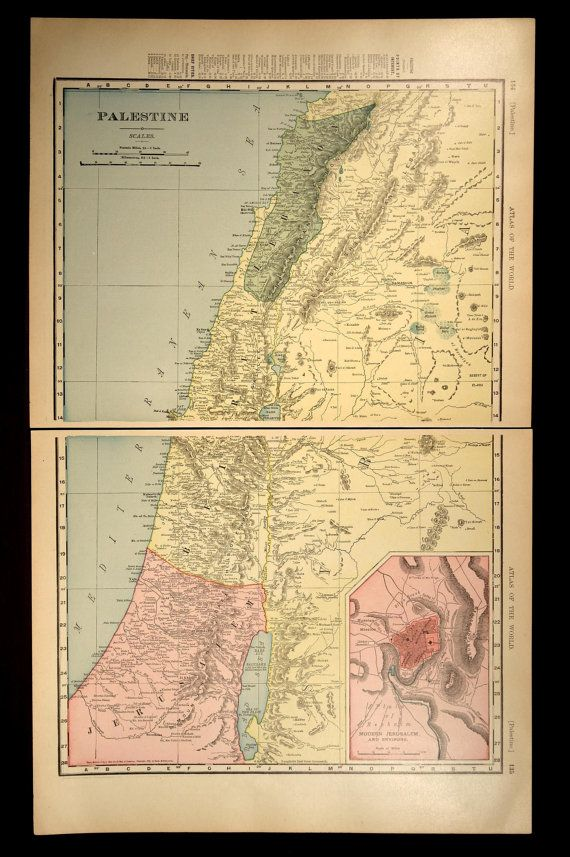 Antique Map Jerusalem Palestine Israel Late 1800s