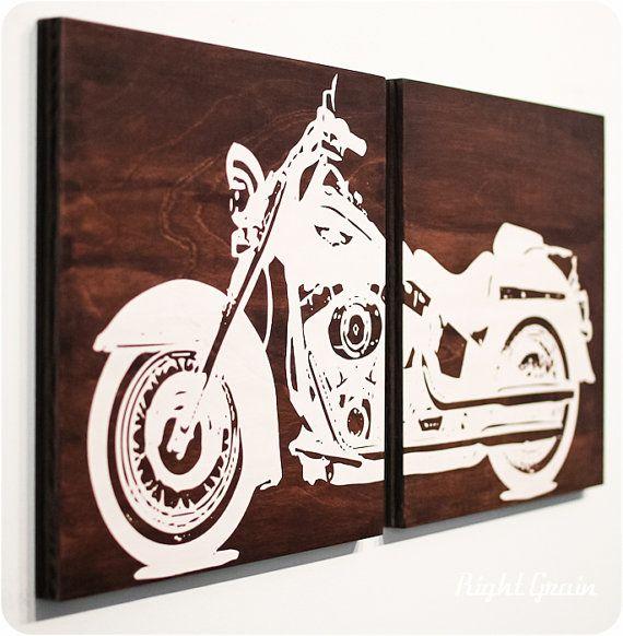 Motorcycle Wall Art  Harley Davidson on Walnut by RightGrain, $80.00