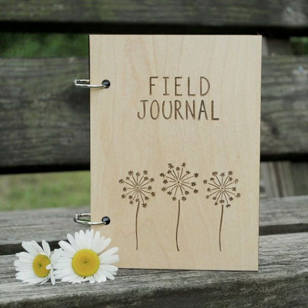 Field Journal Sketch Book Dandelion Design with Blank Pages, Gift for Adventurer, Hiker, Nature Enthusiast