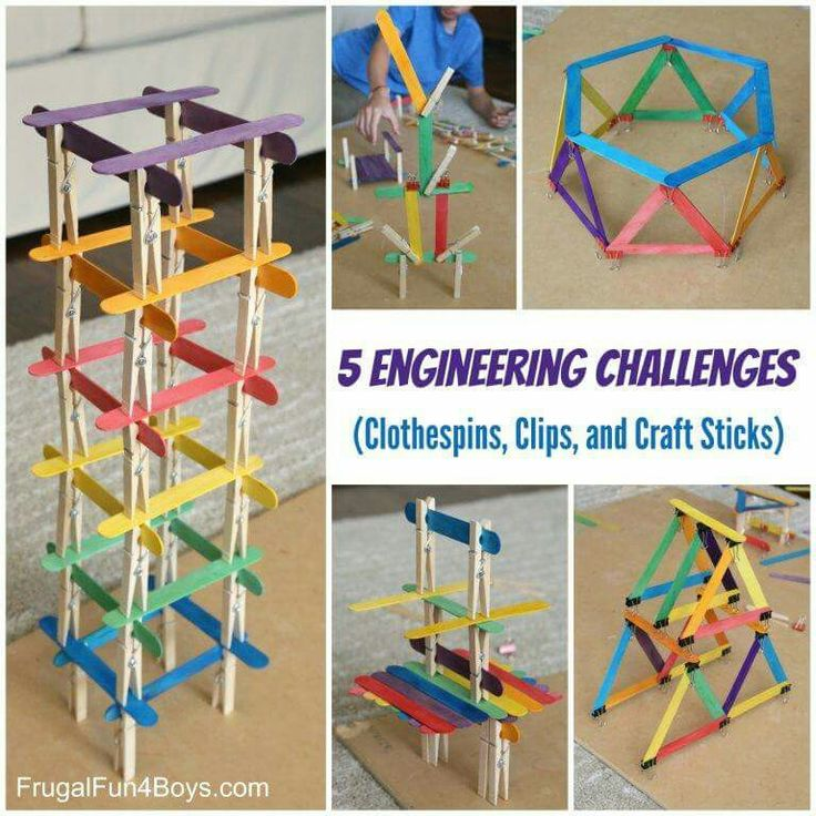 Engineering challenges using clothespins, clips, and craft sticks