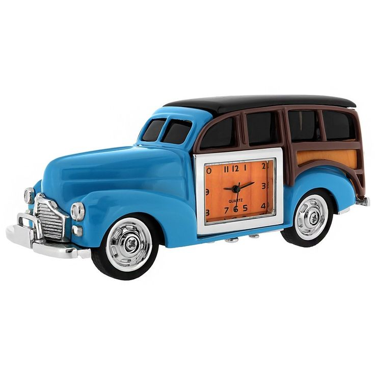 WOODY Classic Vintage Car from the Vehicle Mini Clock Desktop Gift Collection. #miniature #vintage #HotWheels #clocks #collection #miniatures #gifts #cars #giftsforhim