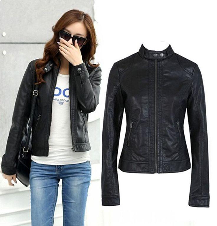 Women Leather Jacket Single Pimkie Washed PU Leather Motorcycle Jacket PIMKIE Jacket Slim Female Soft Leather Large Size S-XXXL