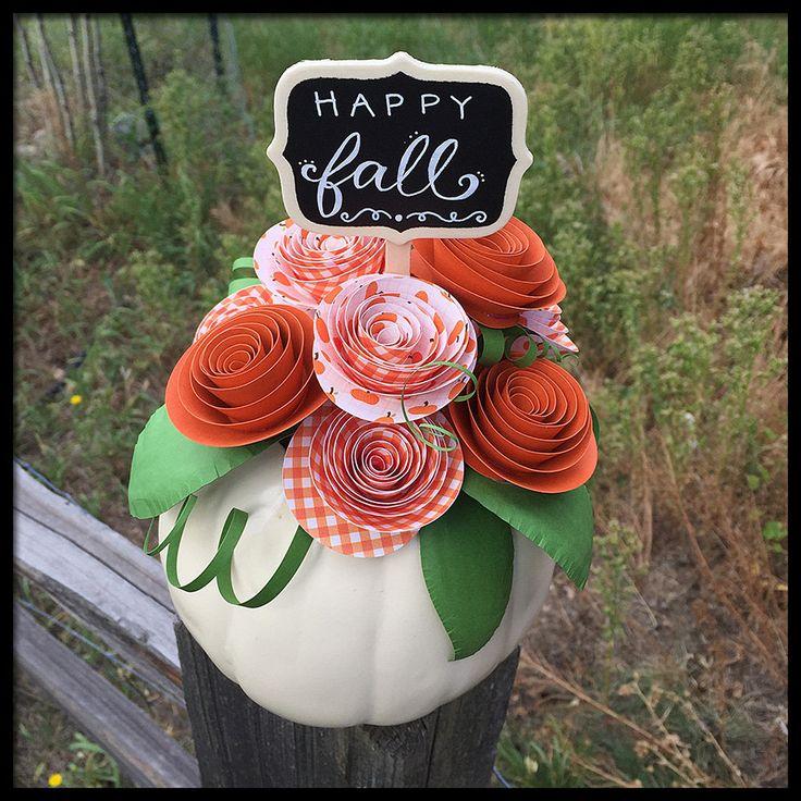 Pumpkin Paper Flower Arrangement for Fall Autumn Halloween Housewarming Gift Thanksgiving Centerpiece by FlowerGirlStacy on Etsy