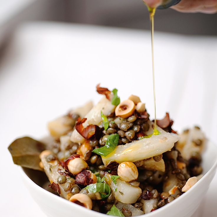 Celeriac and lentils with hazelnuts and mint. This is pretty delicious. You could sub or omit the celeric and still be fine. I also subbed walnut oil for the hazelnut.