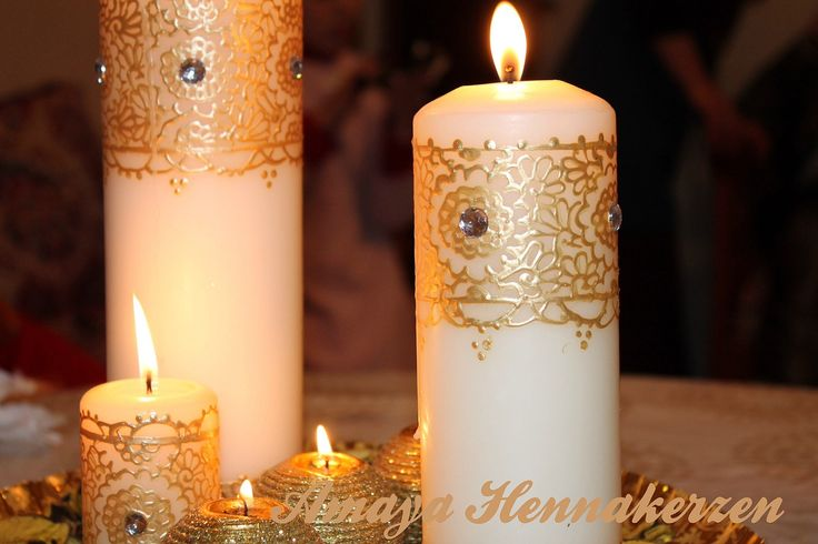 Mehndi Candles Facebook : Decorated candles with henna designs by
