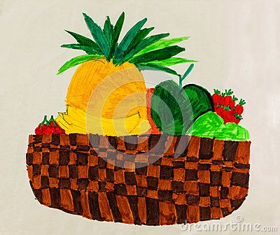 A childlike felt tip drawing of a bowl of fruit.