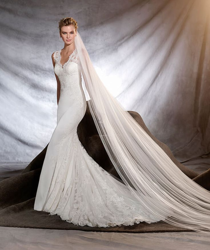 """Choosing the perfect Bridal Necklace featuring """"Oderica"""" Pronovias Wedding Gown. By MEG Wedding Jewelry."""