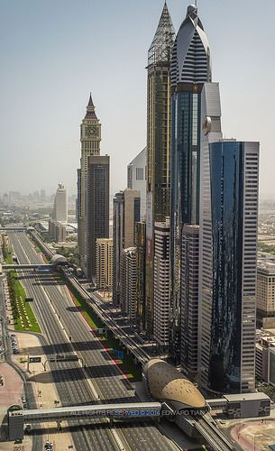 Sheikh Zayed Road, Dubai and the Metro station and line on the right.