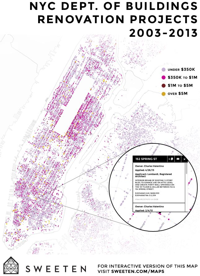 Check out our interactive renovation map on Sweeten! We've mapped all of the projects posted on Sweeten along with the last 10 years of alterations permits filed with the NYC Dept. of Buildings: http://blog.sweeten.com/sweeten/team/sweetens-renovation-map-launch/