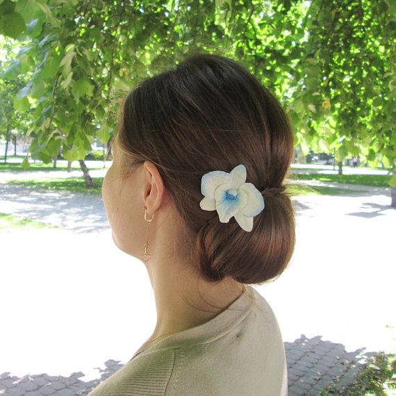 Dendrobium Orchid Hair Pin Blue Orchid Hairpin Wedding Etsy Orchid Hair Pins Flowers In Hair Flower Hair Pin