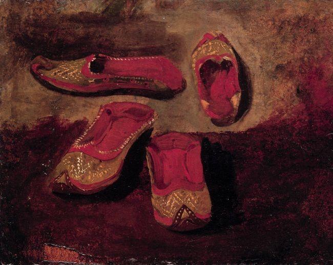 Eugène Delacroix (1798-1863) Etudes de babouches Huile sur carton - 16,5 x 20,5…