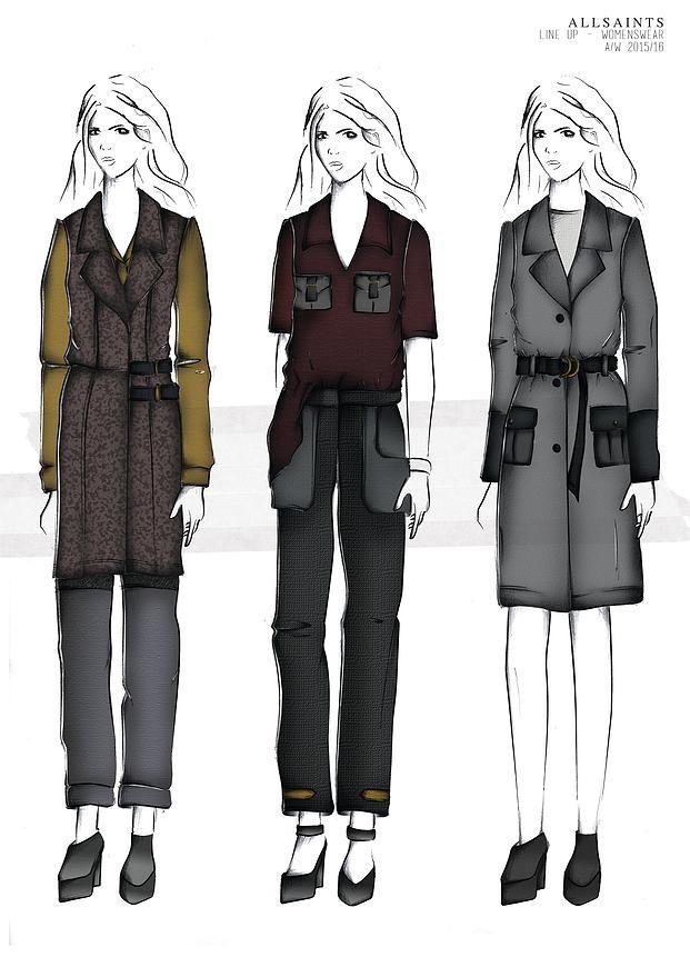BOONSITA SINGHTOTHONG | ALLSAINTS: DUTY.  fashion design, fashion, portfolio, layout, art, drawing, sketching, fashion illustration, line up