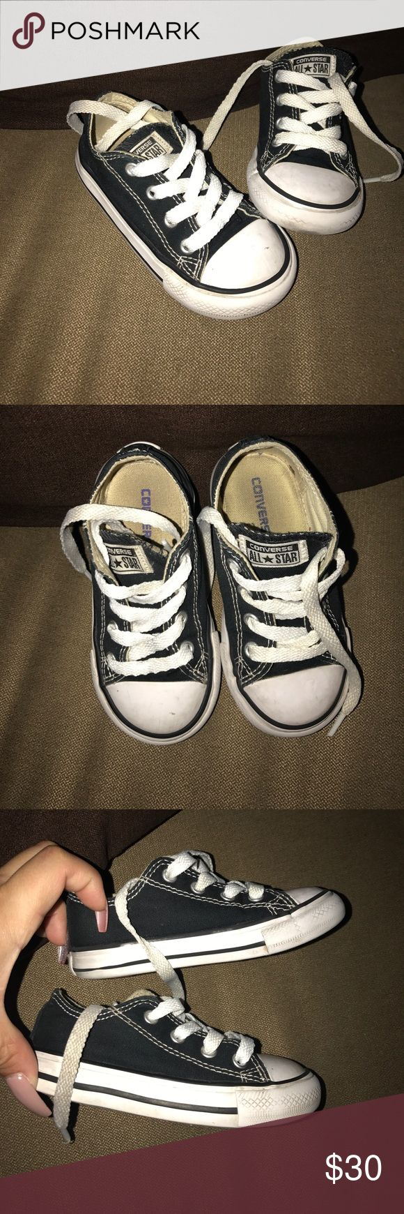 Toddler boy converse tennis shoes boy Toddler boys size 7 tennis shoes. Black and white preowned. All sales final. Converse Shoes Sneakers