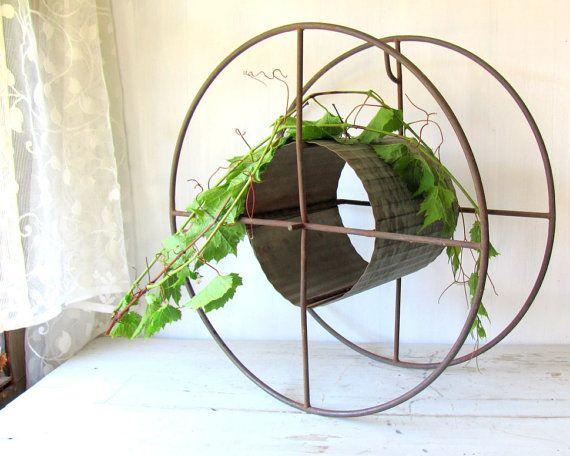 Antique Hose Reel  Industrial Decor  Garden Decor