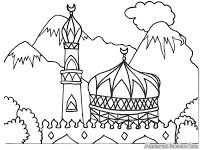 99 Creative Mosque Projects - Mosque Islamic Kids Coloring Pages