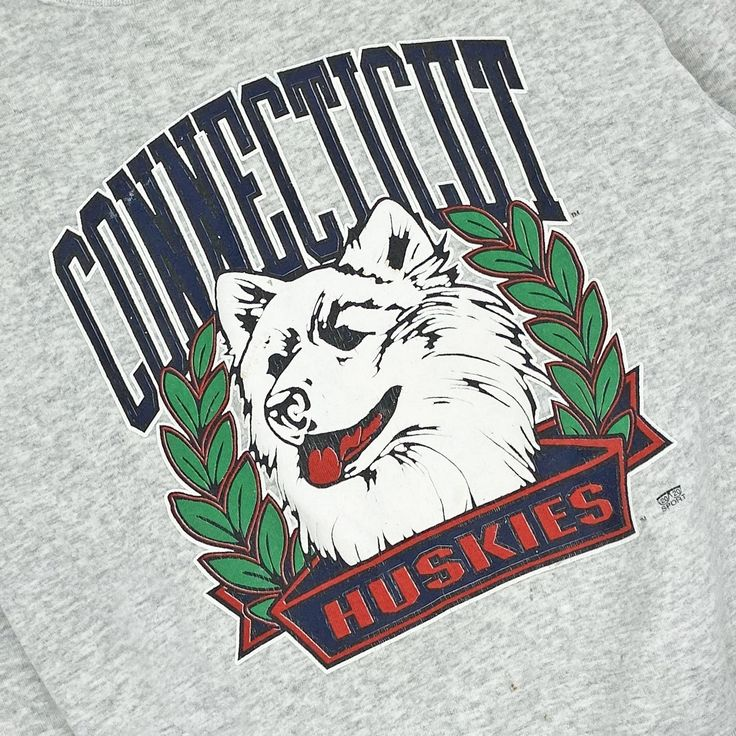 Vintage 90's Uconn Huskies Old Logo Crewneck - Firstport ...