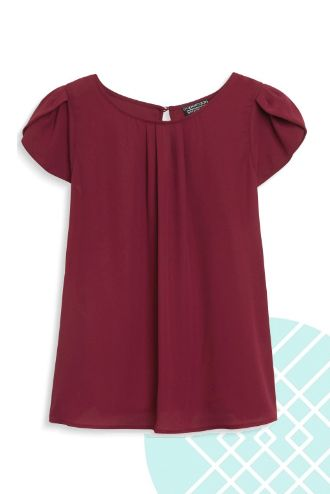 Stitch Fix Papermoon Bastille Tulip Sleeve Blouse in burgundy, available in petites! $44