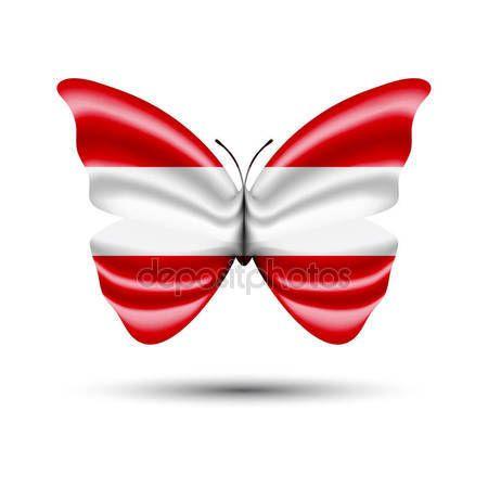 Austrian flag butterfly — Stock Vector © jackreznor #140342662