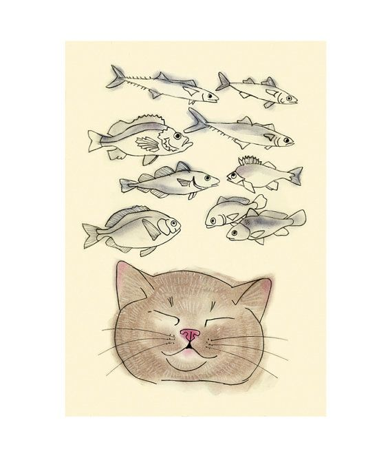 Cat Art print   I Heart Fish   4 X 6 cat print by matouenpeluche, $6.50