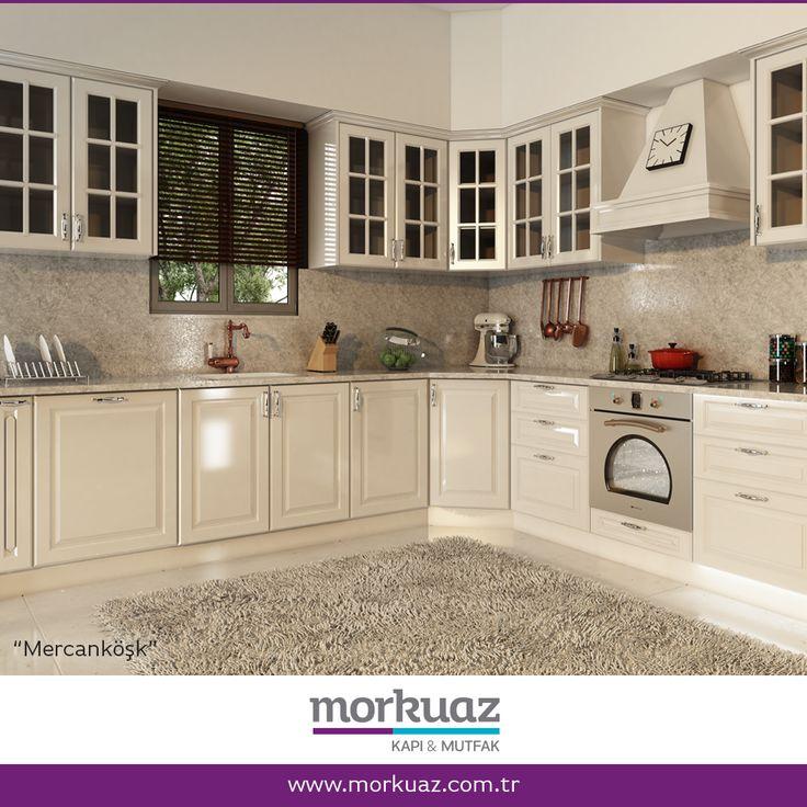 """""""Bu zarif mutfak açık renk tonları ve detaylardaki küçük geleneksel dokunuşları ile tıpkı mercanköşk bitkisi gibi, Ortadoğu ve Akdeniz esintisini hissettiriyor. Ve yine tıpkı bu mutfak gibi, eviniz için kıymetli bir değer oluşturuyor.""""  Diğer mutfak modellerimiz için: www.morkuaz.com.tr  #morkuaz #mutfak #kapı #hayatabiraz #kitchen #furniture #mobilya #dekorasyon #decoration #interior #mimarlık #evdekor #decor #dekor"""